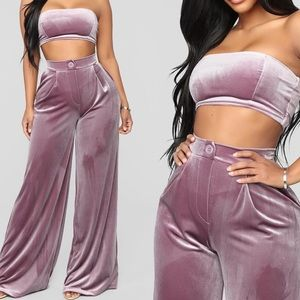 Pink Velvet Fashion Nova Set - Pants and Tube Top